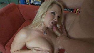 Crummy slut Rachel Love with big boobs giving hot titsjob and a good blowjob image