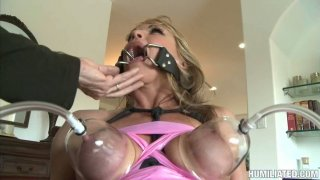 Image: Nasty granny Shayla Laveaux begs for cum in her mouth. BDSM video.