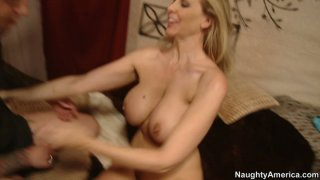Naughty bitch Julia Ann getting thrusted from behind and fingering her asshole image