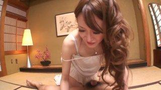 Japanese geisha Mai Shirosaki pleases small cock at her apartment image
