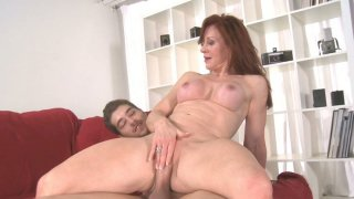 Image: Redhead slut Catherine de Sade is fucked on red coach