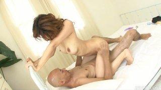 Trashy japanese harlot Moe Aizawa banging_in a threesome fuck image