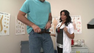 Filthy brunette doctor Lezley Zen gives handjob_and facesits image
