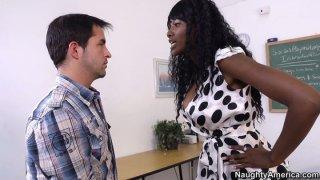 Image: Nasty ebony teacher Nyomi Banxxx argues and punishes her misbehaving student