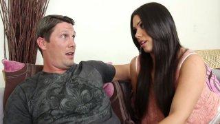 Exotic brunette Shane Dos Santos gives amazing fellatio on the sofa image