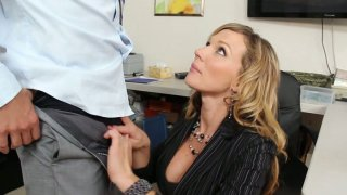 Horny Nikki Sexx is eager to suck her boss' dick in the office image