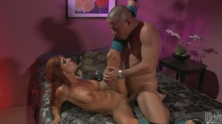 Busty red haired chick Kirsten Price gets her quim poked missionary image