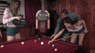 Pool game ends up with mutual fondling for blonde teen Bailey Bam image