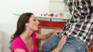 Hungry for cock slut Angelica Saige gives a_head to her client image