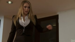 Slutty bitch Kagney Linn Karter fucks the thief in her house image