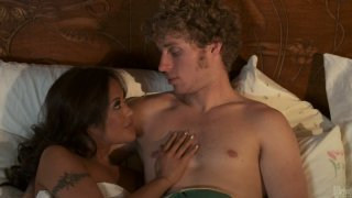 Image: Sweaty whore Kaylani Lei gets hammered hard in a missionary position