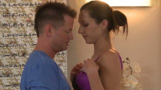Tall and slim Lina Cole gives a hot blowjob in a parlour image