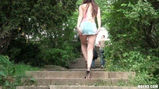 Frisky brown haired teen Stacy Snake loves to play with her pussy alone image