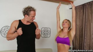 Sporty Tasha Reign sucks the dick deepthroat and gives a_hot handjob image