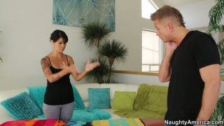 Horny massuese Dana Vespoli gives a hot blowjob to the client image