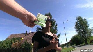Image: Tanned brunette Isabella sucks a cock for money
