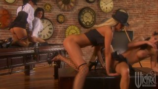Sexy gangster lesbians Tory Lane, Alektra Blue, Mikayla Mendez and Tanya James play with pussies image