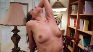 Slim brunette Layla Sin gets fucked on the study's floor image