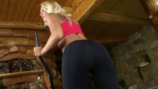 Appetizing blonde bitch Dorina brags wiht_her booty in_yoga pants image