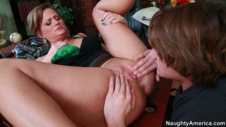 Horny crummy brunette Becca Blossoms sucks a cock and provides it with a boobfuck image