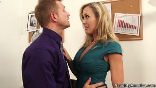Office babe Brandi Love fucks her manager to keep her job image