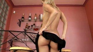 Image: Seductive blonde kitty Sophie Moone hot striptease show