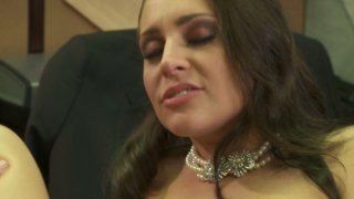 Brown haired office slut Gracie Glam gets her bushy cunt fucked by boss image