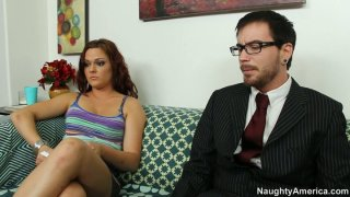 Whorable brunette Kacee Daniels sucks a cock_of the_notary image