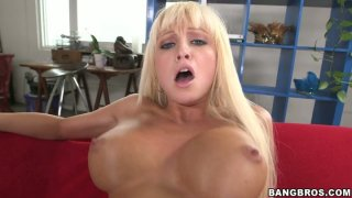Soaking pussy of blonde hoe Rikki Six gets drilled by massive cock image