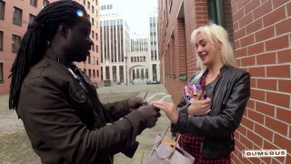 Image: Horny blonde is down for intensive interracial fucking in public