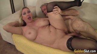 Image: Stunning Big Tits Granny Cala Craves Shows an Old Man Her Skills