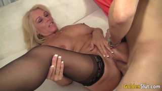 Older Blonde Slut Crystal Taylor Spreads Her_Legs for_Cock image