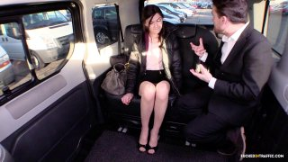 Image: Brunette teen enjoys riding a mean dick in the taxi