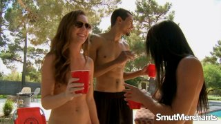Poolside Threesome with Sexy Babes Adriana Luna and Mia Gold image