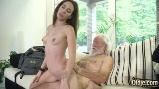 Young babe doggystyle with her very old boyfriend image