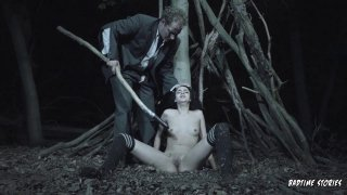 Young scared slut gets her pussy drilled in the forest image