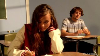 Goody goody Alexis Capri gets her pussy fucked on the teacher's table image