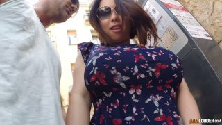 Asian hooker Tigerr Benson gives a blowjob in public and gets anus fucked indoor image
