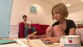 Cute Japanese girlfriend Yuri Kurosaki gives a yum-yum blowjob to her Bf image