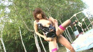 Latex covered nurse Asuka Ishihara gets fucked by two_cocks image