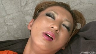 Horny milf Maeda Hina stripping slowly and getting orgazm using toys image