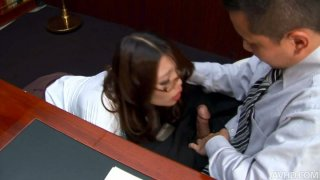Classy japanese whore Ibuki gets some other office skills on sucking boss' dick image