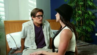 Voluptuous Kendra Lust seduces nerdy guy_by_her gorgeous forms image