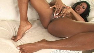 Hot and busty ebony beauty Tyra Lex drills herself with dildo image