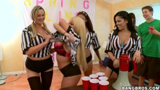 Beerpong with BangBros stars Abbey Brooks, Jamie Valentine and Nikki Delano image