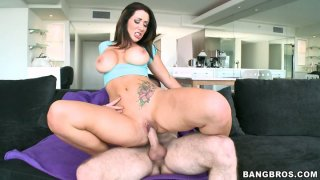 Experienced milf Jayden Jaymes rides and fucks young guy on the couch image