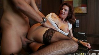 Slutty cougar Deauxma fucks young bartender in the bar image
