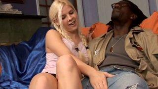 Adorable blonde teen Kinzie Jo sucks black monster cock image