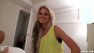 Outaregously beautiful blonde Jessa Rhodes gives amazing blowjob on POV vid image