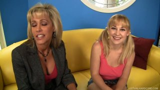 Mature slut Cindy Loo involves Jordan Lynn in a porn industry and assist her while filming a first sex video image